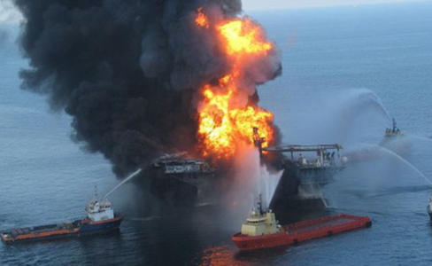 Emergency Response Team Waters down Rig on Fire